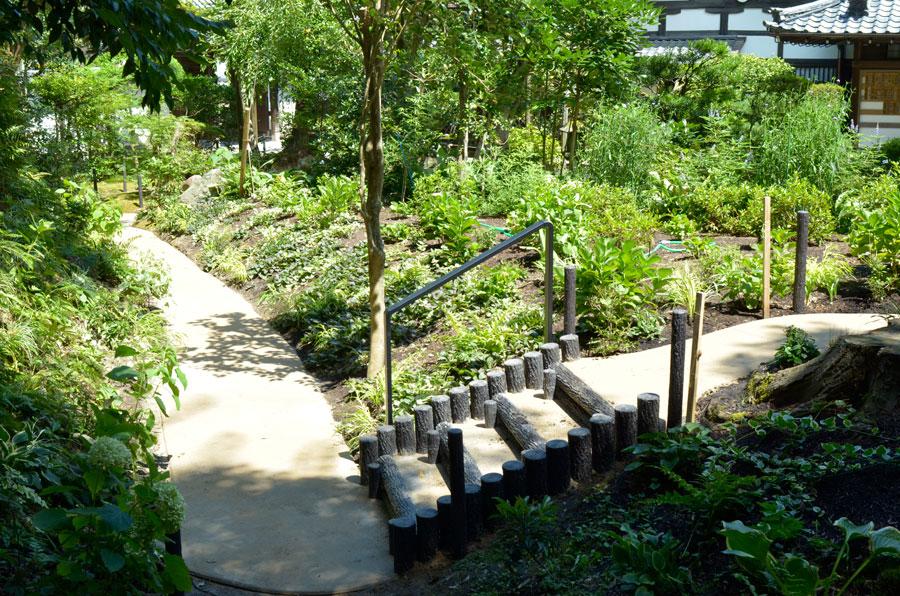 新善光寺のアジサイの丘を通る真砂土舗装の歩道